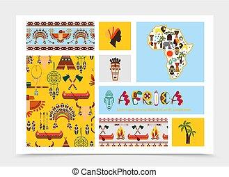 apartamento, elementos, composição, africano, nativo