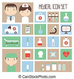 apartamento, elements., coloridos, ícones, ilustração médica, vetorial, saúde, desenho, style., set.