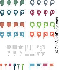 apartamento, elements., coloridos, mapa, simples, alfinetes