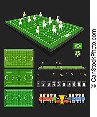 apartamento, elements., infographic, desenho, partida futebol