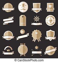 apartamento, emblemas, etiquetas, vindima, retro, sinais