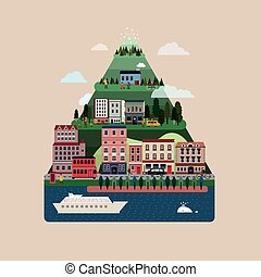 apartamento, encantador, desenho, colinas, casas