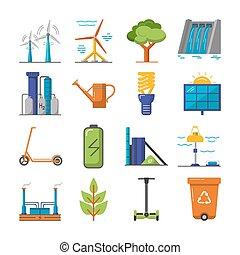 apartamento, energia, jogo, ecologia, ícones