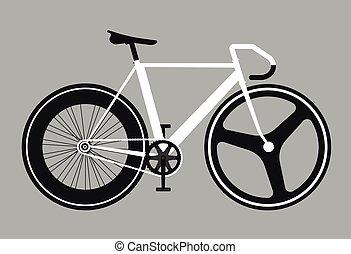 apartamento, engrenagem bicicleta, ilustração, vetorial, fixo