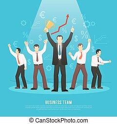 apartamento, equipe, negócio, sucesso, cartaz