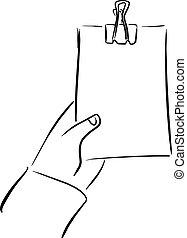apartamento, esboço, homem negócios, segurando, doodle, lista, isolado, ilustração, mão, vetorial, experiência preta, em branco, desenhado, linhas brancas
