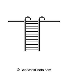 apartamento, escada mão passo, ícone