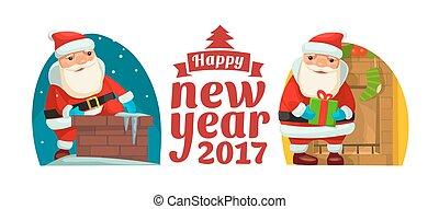 apartamento, escalado, papai noel, chimney., ilustração, vetorial, feliz natal