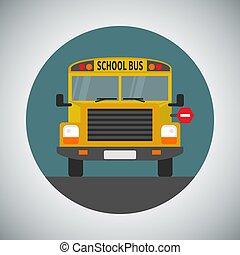 apartamento, escola, ícone, estilo, autocarro