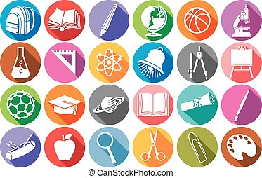apartamento, escola, ícones