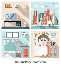 apartamento, escola, ícones negócio, ilustração, vetorial, desenho, exterior, interior, secretária