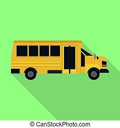 apartamento, escola brinca, autocarro, estilo, ícone