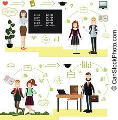 apartamento, escola, conceito, estilo, ilustração, vetorial