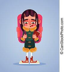apartamento, escola, infeliz, triste, girl., vetorial, ilustração, caricatura