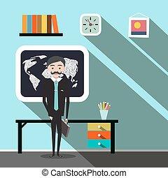 apartamento, escritório, -, ilustração, vetorial, desenho, homem negócios, professor