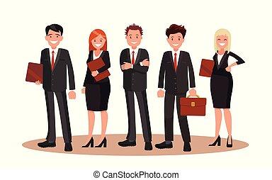 apartamento, escritório, staff., ilustração, vetorial, design.