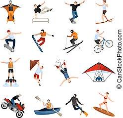 apartamento, esportes, pessoas, extremo, ícones