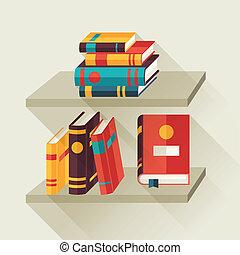 apartamento, estantes, livros, desenho, style., cartão
