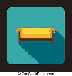 apartamento, estilo, ícone, amarela, sofá