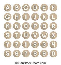 apartamento, estilo, ícones, alfabeto, set., vetorial