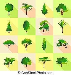 apartamento, estilo, ícones, jogo, árvore, formulários, tipo