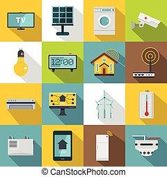 apartamento, estilo, ícones, jogo, casa, lar, esperto