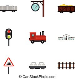 apartamento, estilo, ícones, jogo, estação, estrada ferro