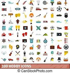 apartamento, estilo, ícones, jogo, passatempo, 100