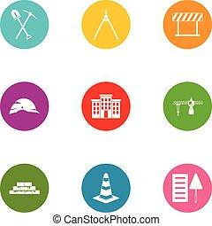 apartamento, estilo, ícones, jogo, rua, construção