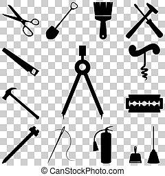 apartamento, estilo, ícones, set., ilustração, vetorial, ferramentas