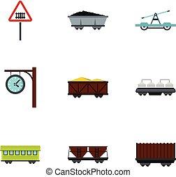 apartamento, estilo, ícones, trem, jogo, , estrada ferro