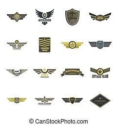 apartamento, estilo, airforce, ícones, jogo, militar, marinha, logotipo