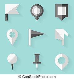 apartamento, estilo, alfinete, set., map., empurrão, branca, ícone