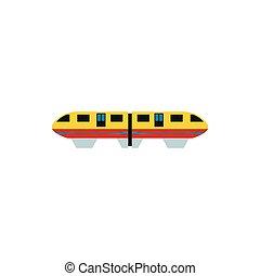 apartamento, estilo, amarela, trem, ícone, monorail