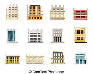 apartamento, estilo, andaime, ícones, jogo, construção