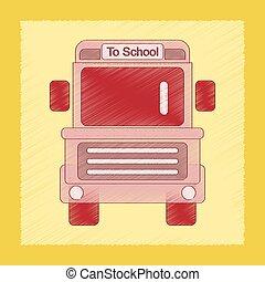 apartamento, estilo, autocarro, escola, sombreado, ícone