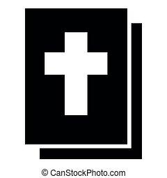apartamento, estilo, bíblia, imagem a cores, ilustração, simples, pretas, ícone