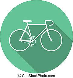 apartamento, estilo, bicicleta, dentro, vetorial, verde, redondo, ícone