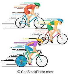 apartamento, estilo, bicicleta, racing., ciclistas, vetorial, desenho, caráteres