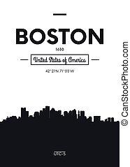 apartamento, estilo, boston, cidade, cartaz, ilustração, skyline, vetorial