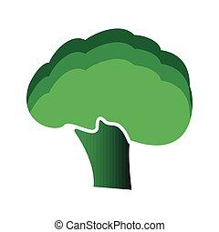 apartamento, estilo, brócolos, ícone