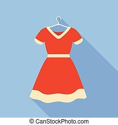apartamento, estilo, cabide, ícone, vestido, vermelho