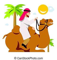 apartamento, estilo, cameleer., coloridos, camel., árabe, vetorial, montando, caricatura, illustration.