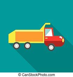 apartamento, estilo, caminhão brinquedo, ícone