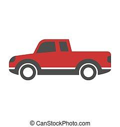 apartamento, estilo, car, cima, isolado, desenho, pico, caricatura, vermelho