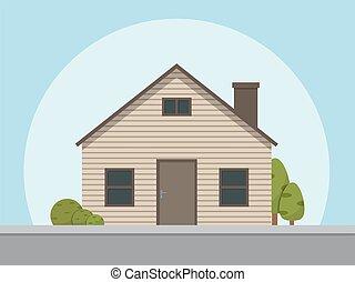 apartamento, estilo, casa, ilustração, vetorial, icon.