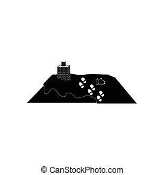 apartamento, estilo, casa, telhado, pretas, branca, ícone