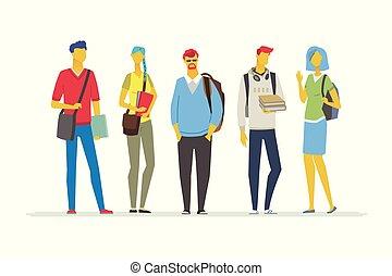 apartamento, estilo, coloridos, estudantes, -, ilustração, desenho