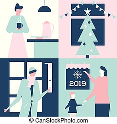 apartamento, estilo, coloridos, -, ilustração, desenho, ano, novo, feliz