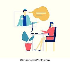 apartamento, estilo, coloridos, -, ilustração, desenho, digital, medicina